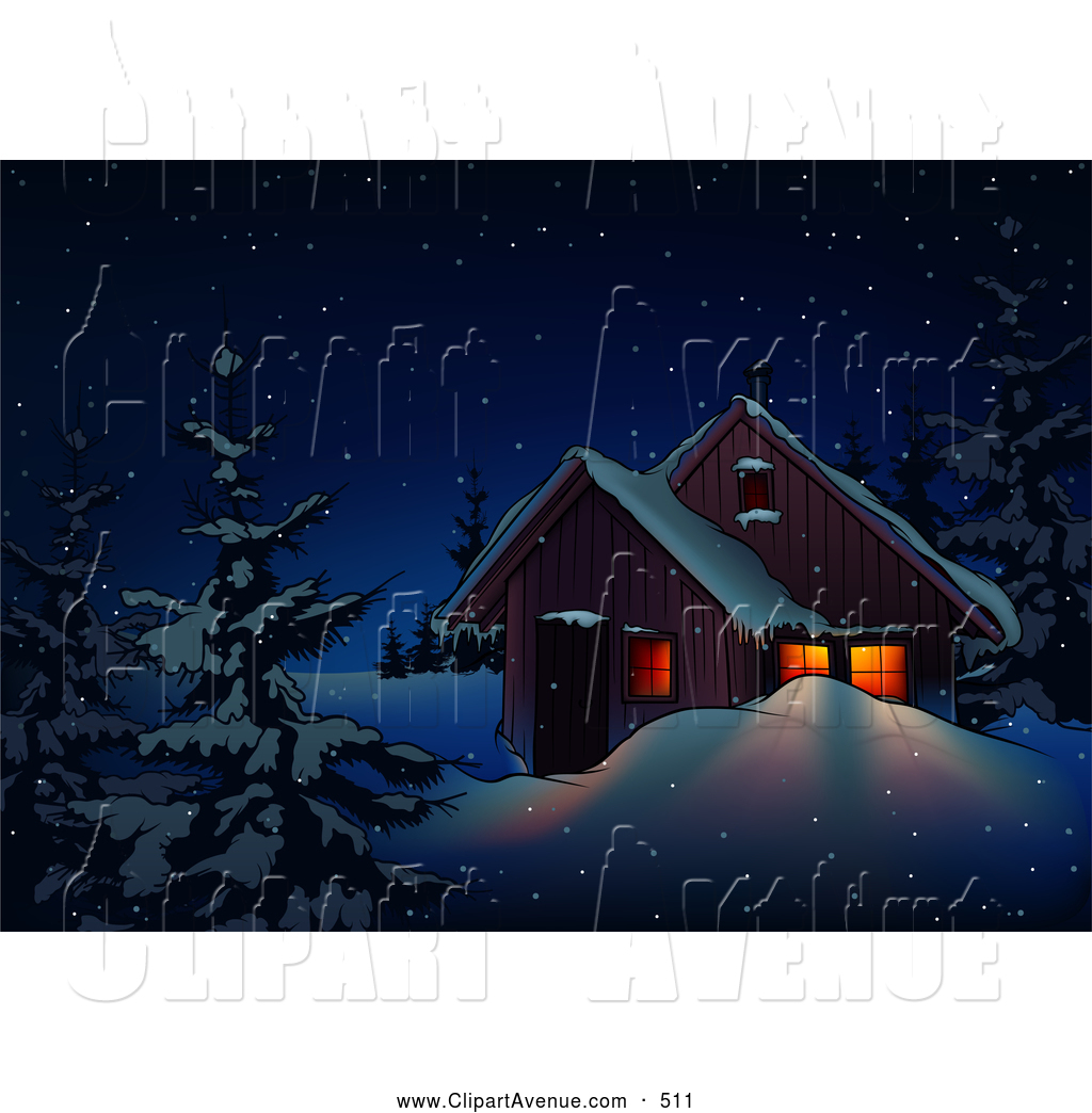 Royalty free stock avenue. Cabin clipart snowy cabin
