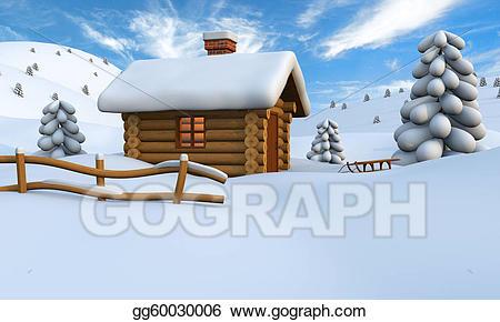 Stock illustration log in. Cabin clipart snowy cabin