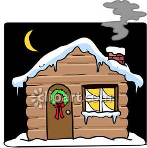 Cabin clipart snowy cabin. Cartoon of a log