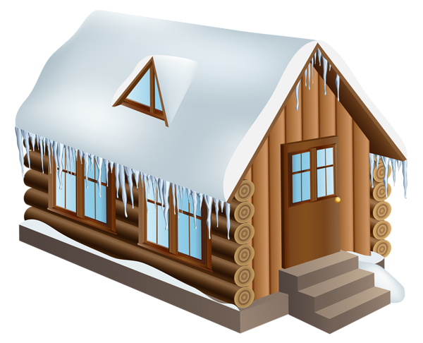 Cabin clipart transparent background. Winter house png clip