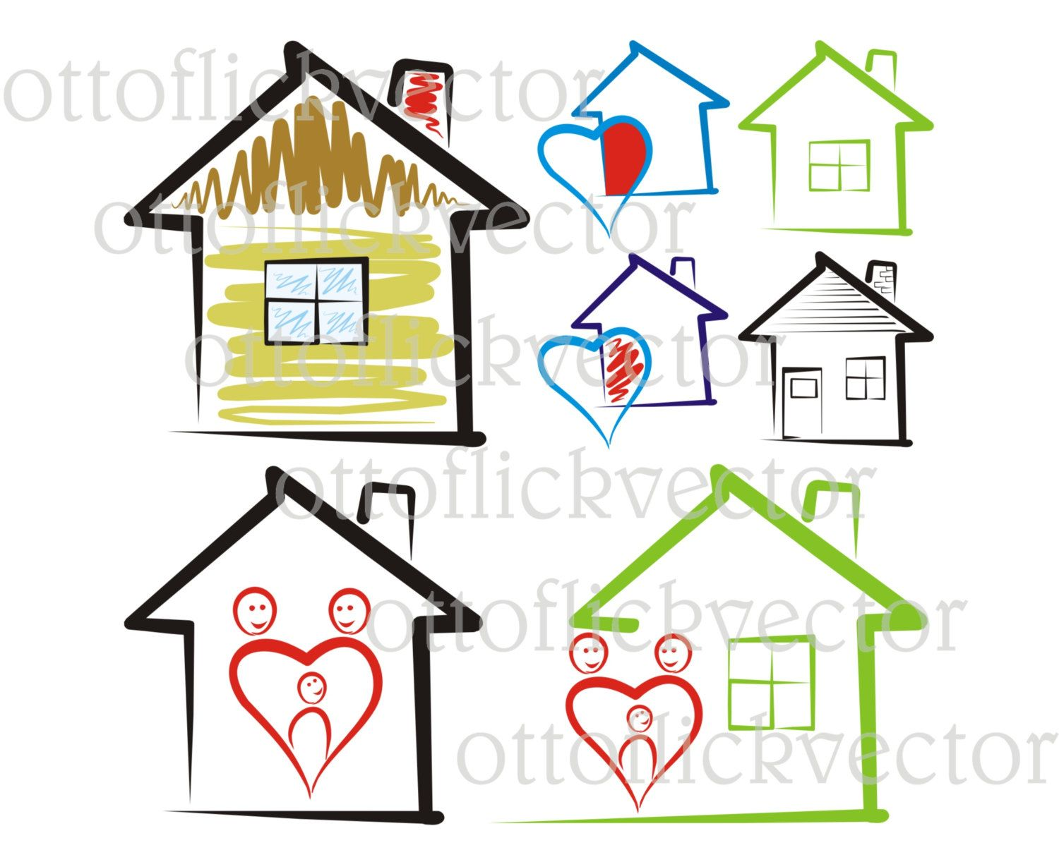 Cottage clipart vector. Sweet home house silhouettes