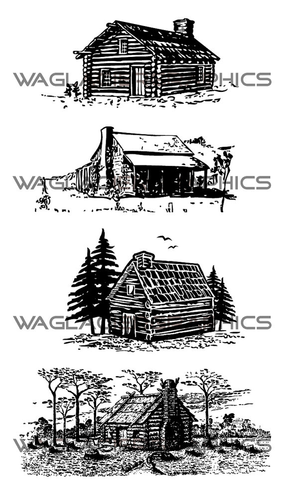 Cabin illustrations copyright free. Hut clipart vintage