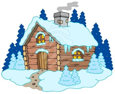 Cabin . Winter clipart camp