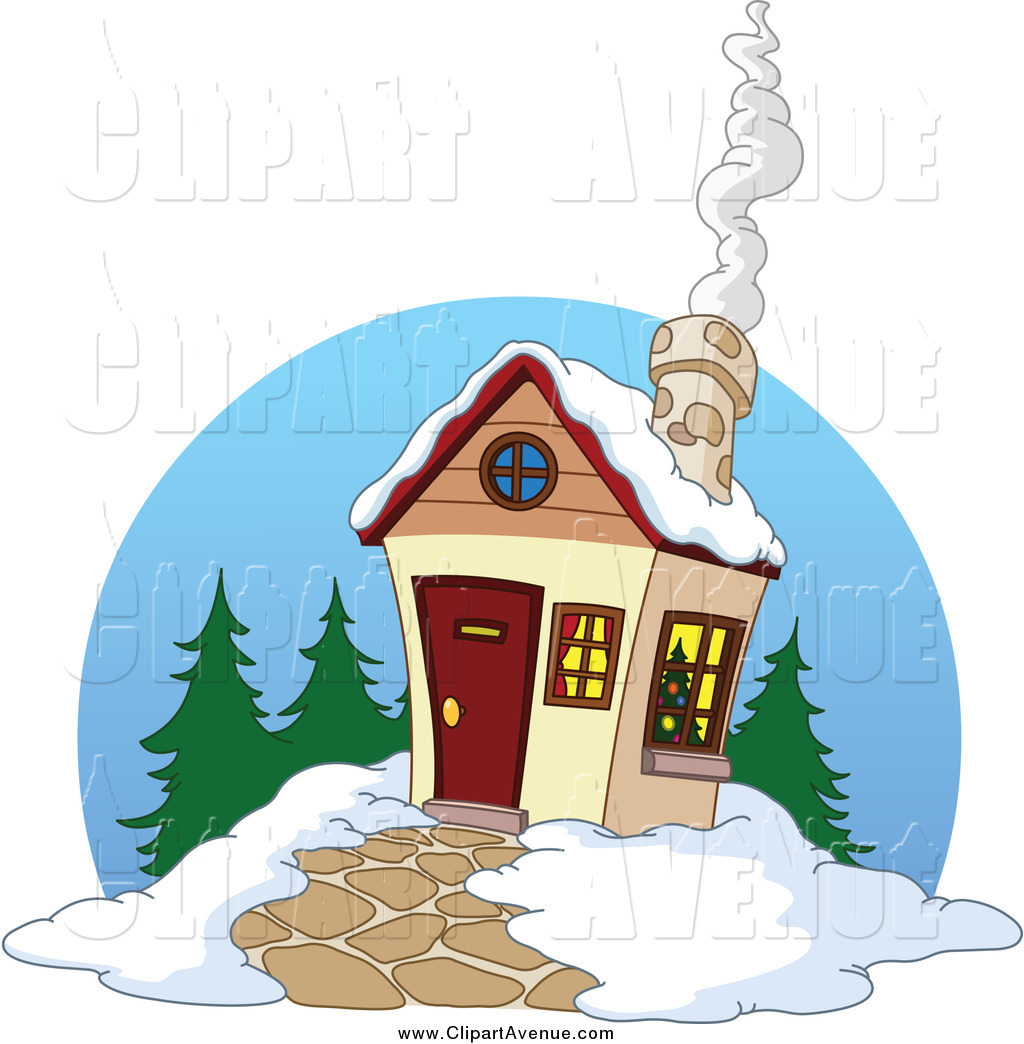 Avenue of a with. Winter clipart cabin
