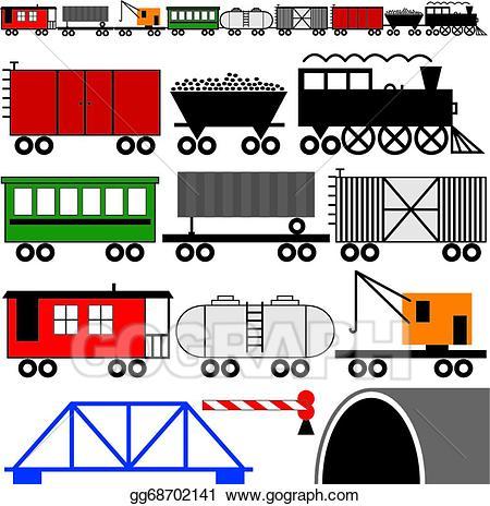 Vector art train engine. Caboose clipart boxcar