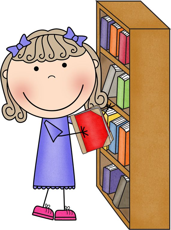 Students in a classroom. Librarian clipart cute
