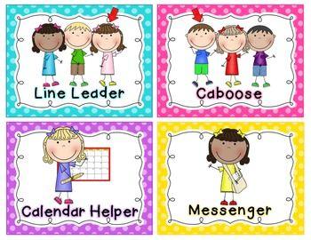 Job clipart kindergarten classroom. Jobs chart bright polka
