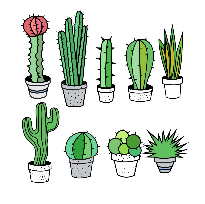 Cactus clipart. Clip art tribal succulent