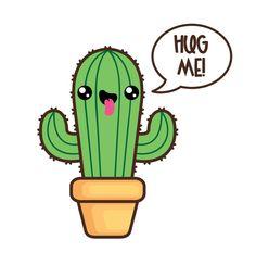 Kawaii clip art valentine. Cactus clipart animated