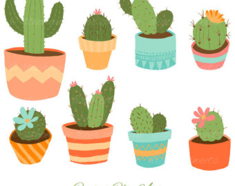 Cactus clipart banner. Cute