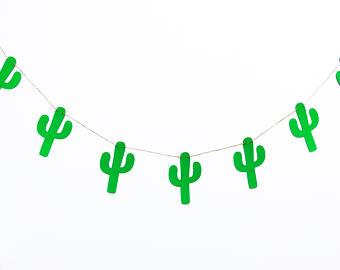 Decor party felt garland. Cactus clipart banner