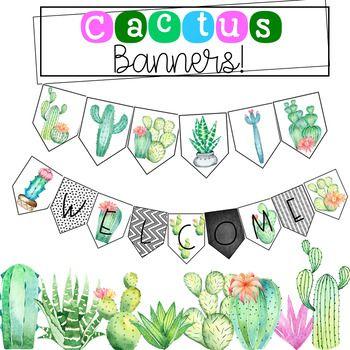 Editable decor classroom and. Cactus clipart banner