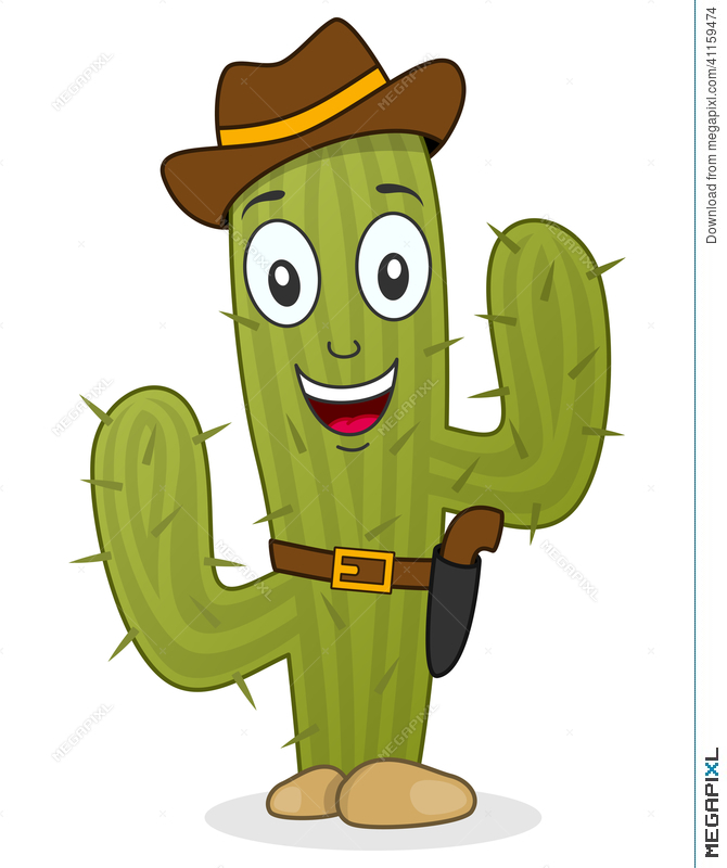 Cactus character with gun. Belt clipart cowboy belt