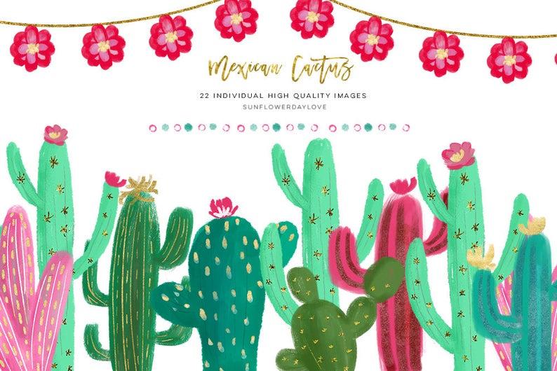 Mexican clipart cactus. Succulent watercolor collage scrapbook