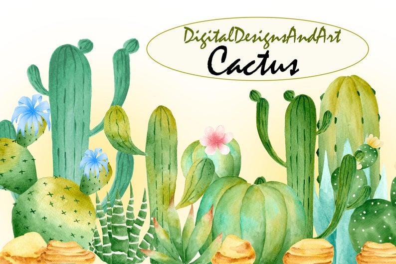 Cactus clipart desert. Illustration watercolor succulent wedding