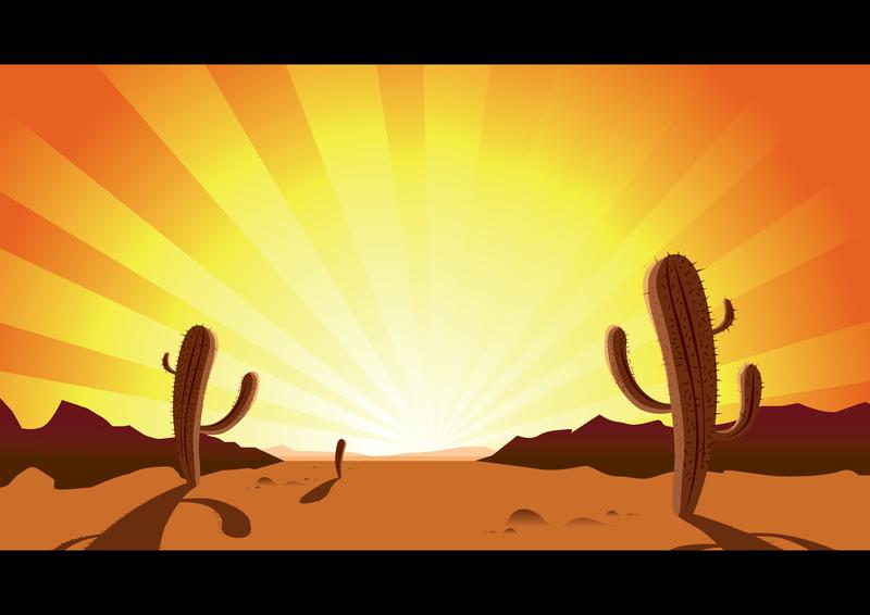 Sunset clip art vector. Cactus clipart desert