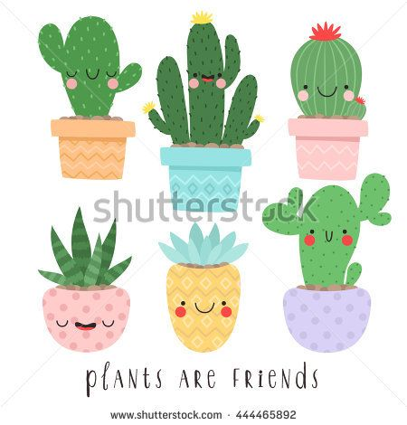 Cactus clipart face. Set of six illustrations