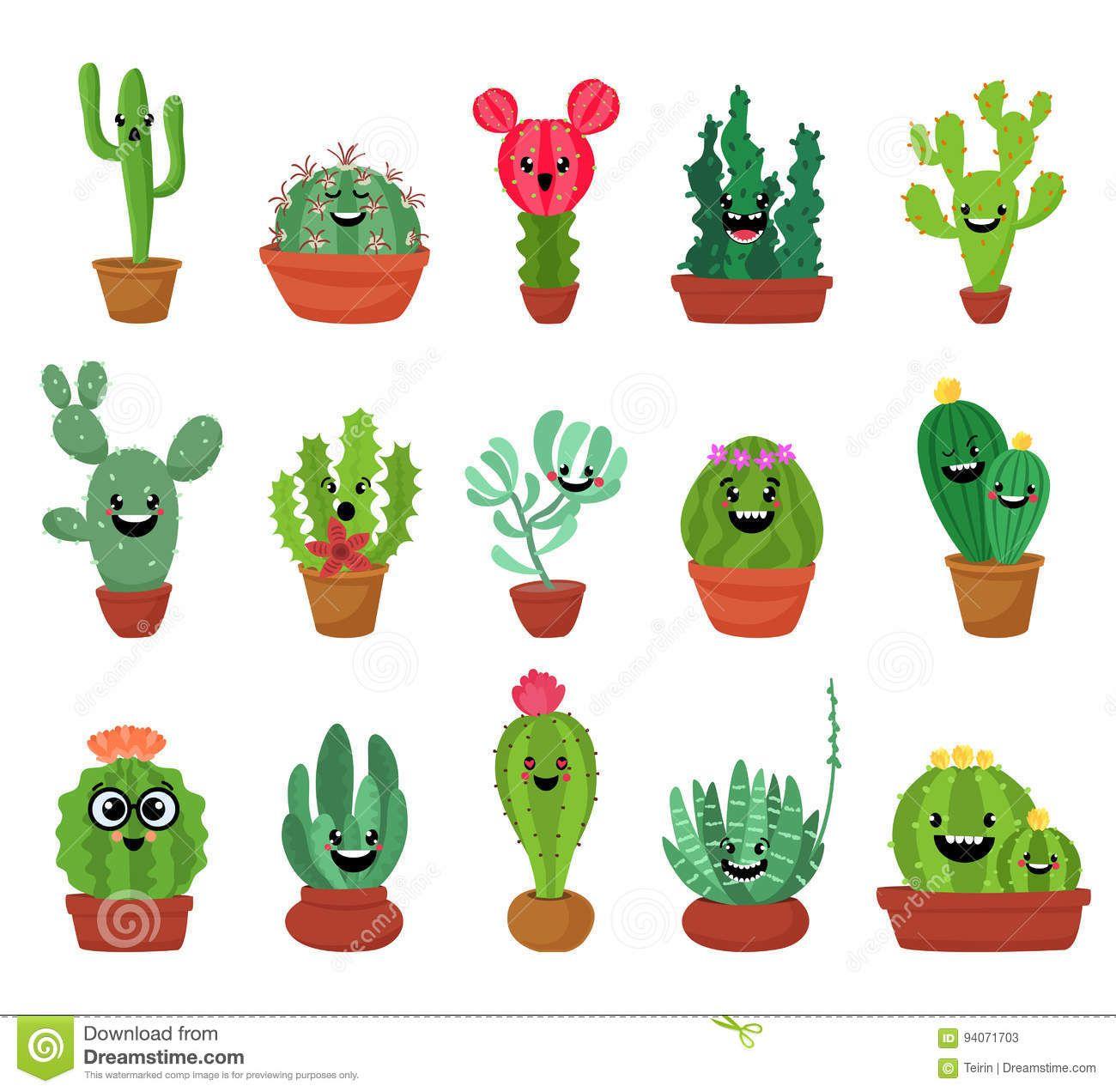 Cactus clipart face. Big set of cute