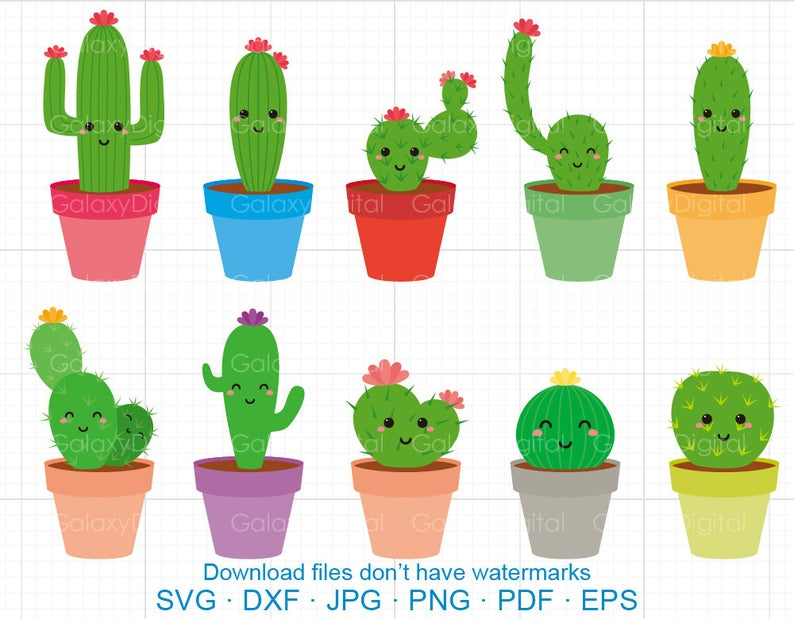 Cactus clipart face. Cute svg dxf silhouette