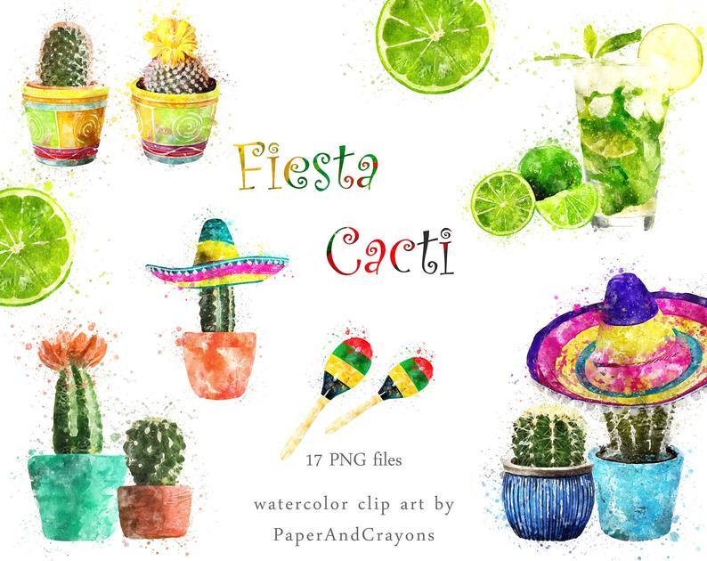 Cacti set succulent clip. Cactus clipart fiesta
