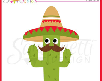 Cactus clipart fiesta. Cute digital spanish mexican