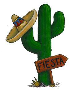 Cactus clipart fiesta. Colorful mexican sombrero hat