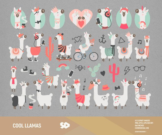 Cool llama clip art. Cactus clipart hipster