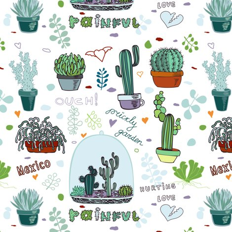 Mexico fabric innaogando spoonflower. Cactus clipart hipster