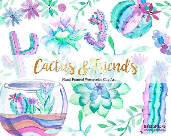 Succulent watercolor clip art. Cactus clipart hipster
