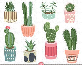 Succulent clipart modern. Cactus pots etsy clip