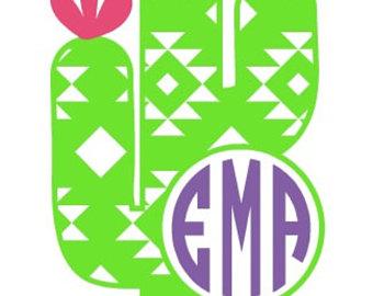 Decal aztec sticker. Cactus clipart monogram