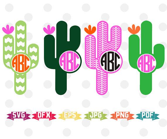 Cactus clipart monogram. Svg silhouette cameo cricut