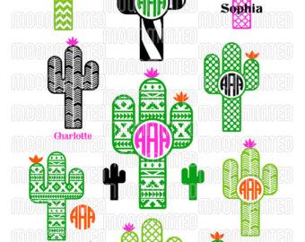 Silhouettes etsy svg cut. Cactus clipart monogram