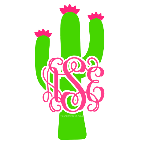 Cactus clipart monogram. Decal glitter ave