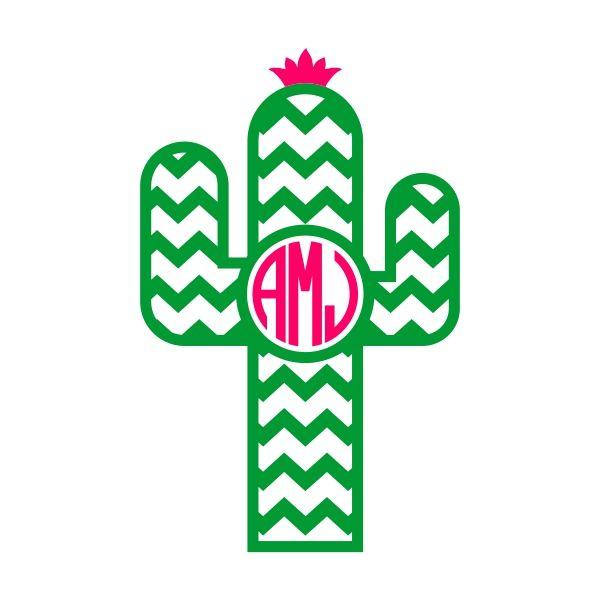 Chevron cuttable frame cut. Cactus clipart monogram