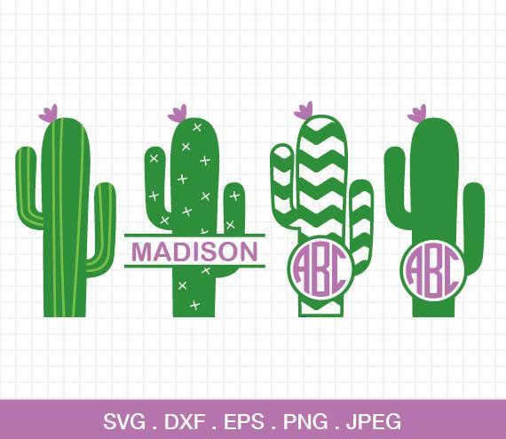 Cactus clipart monogram. Svg frame