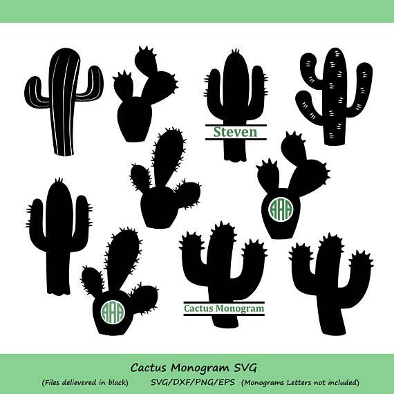 Svg . Cactus clipart monogram