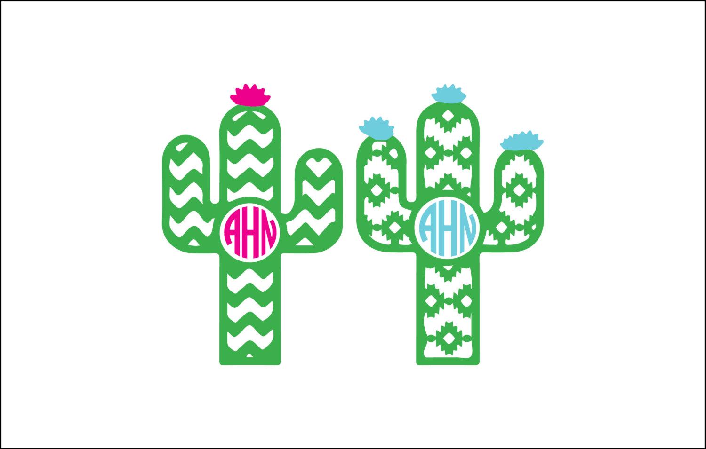 Digital download unique svg. Cactus clipart monogram