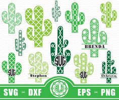 Cactus clipart monogram. For circle svg cutting