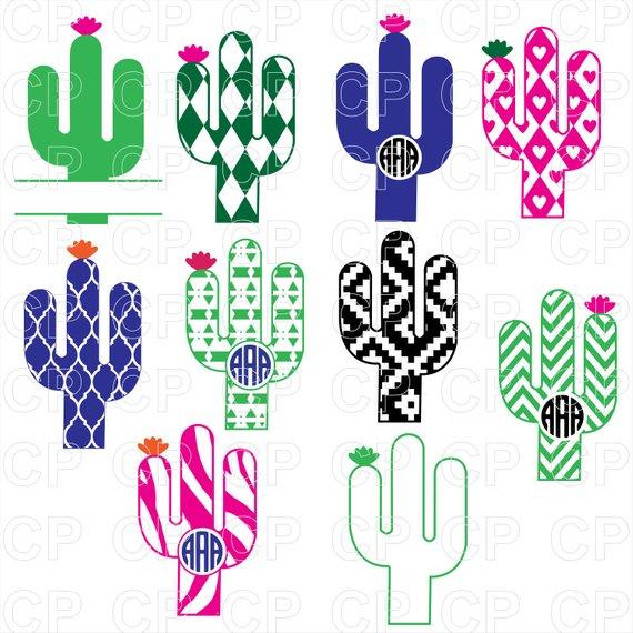 Svg cut files . Cactus clipart monogram