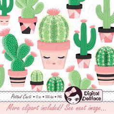 Happy set cute clip. Cactus clipart nopal