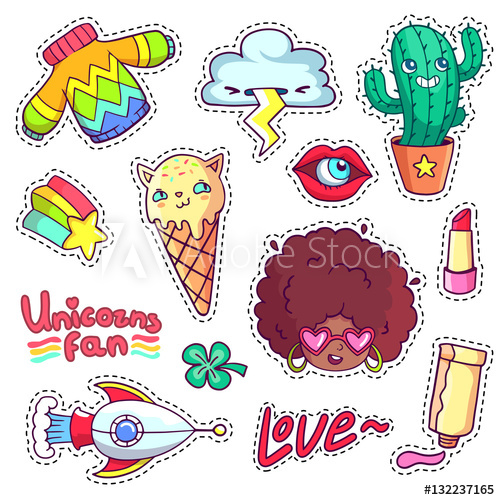 Cactus clipart pop art. Cool stickers set in