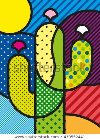 Modern vector illustration for. Cactus clipart pop art