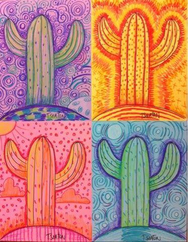best western landscape. Cactus clipart pop art