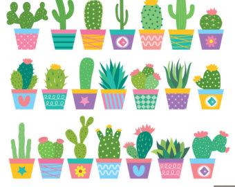 Cactus clipart pop art. Digital papers by littlemoss