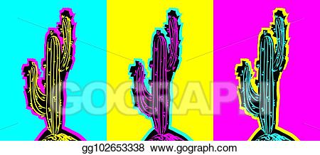 Cactus clipart pop art. Vector illustration set of