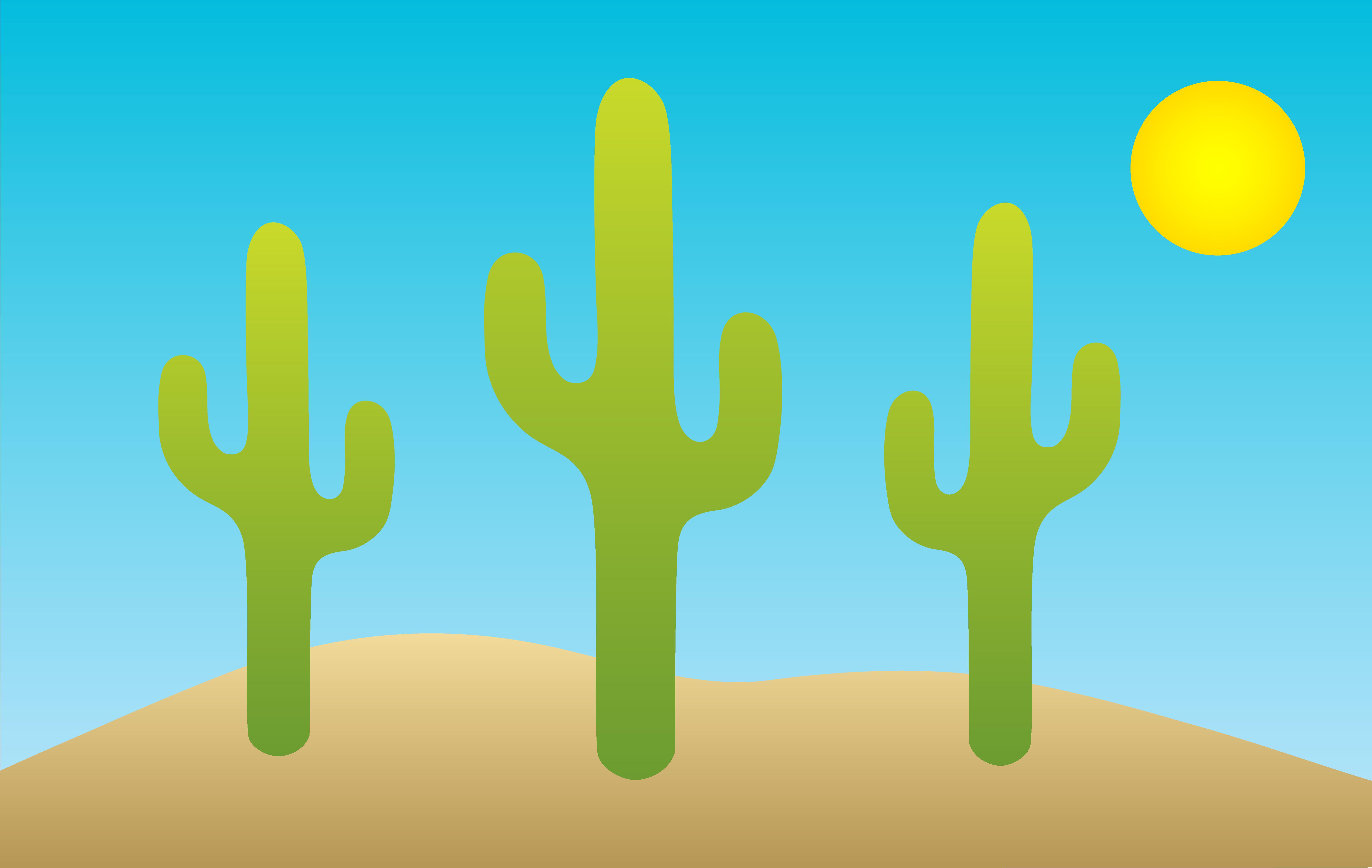 Desert with saguaro cacti. Cactus clipart scene