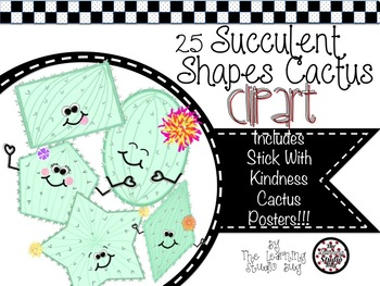 Succulent shapes and posters. Cactus clipart shape