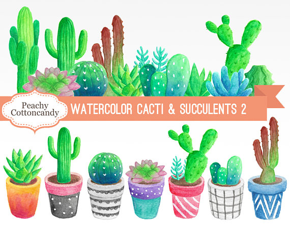 Buy get free watercolor. Succulent clipart