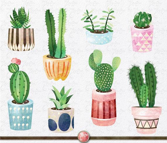 Clip art pack watercolor. Cactus clipart summer